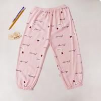 Flamingo Printed Elastic Waist Narrow Bottom Kids Trouser - Pink