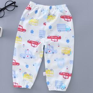 Printed Elastic Waist Narrow Bottom Kids Trouser - White Multicolor