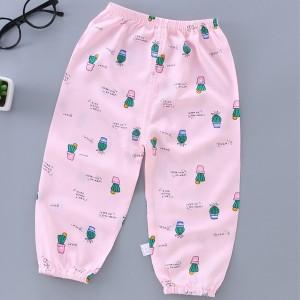 Printed Elastic Waist Narrow Bottom Trouser - Rose Pink