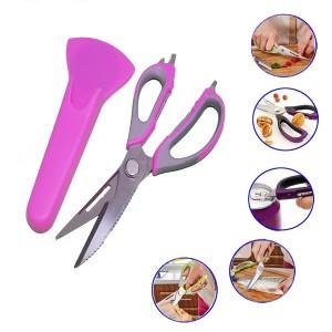 Multi purpose Cutter Chicken Bone Kitchen Scissor With Case - Pink