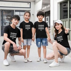 Text Print Round Neck Short Sleeves One Piece T-Shirt - Black