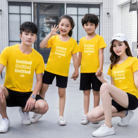 Text Print Round Neck Short Sleeves One Piece T-Shirt - Yellow