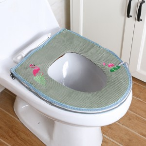 Fabric Easy Installation Toilet Seat Fabric Cover - Green