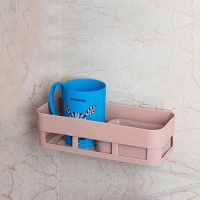 Easy Adhesive Plastic Multi Purpose Storage Rack - Pink