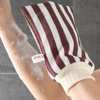 Striped Printed Smart Glove Style Fabric Bath Use Scrubber - Brown