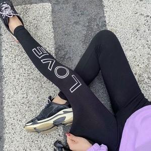 Love Alphabet Printed Narrow Bottom Body Fitted Sportswear Trouser - Black