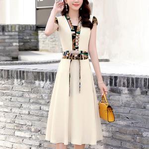 Waist Belt Short Sleeves A-Line Mini Dress - White