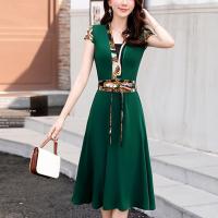 Waist Belt Short Sleeves A-Line Mini Dress - Green