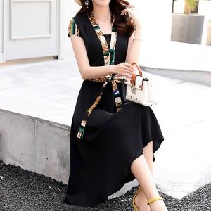 Waist Belt Short Sleeves A-Line Mini Dress - Black
