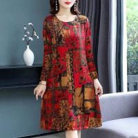 Digital Printed Full Sleeves Round Neck Mini Dress - Red