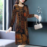 Digital Printed Full Sleeves Round Neck Mini Dress - Brown