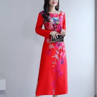 Floral Printed Boat Neck Full Sleeves Midi Dress - Red