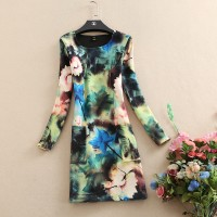 Full Sleeves Floral Printed Round Neck Mini Dress - Green