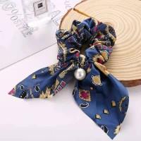 Pearl Pendant Women Bow Hair Tie - Navy Blue