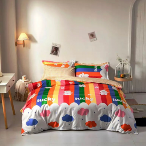Rainbow Design Printed Single Size Duvet Cover Bed Sheet Set of 4 Pieces
