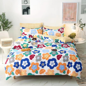 Colorful Floral Design Printed Queen / Double Size Duvet Cover Bed Sheet Set of 6 Pieces