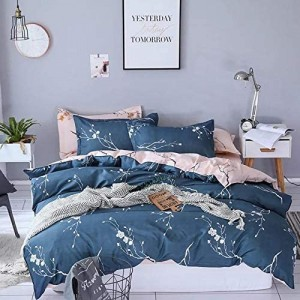Floral Design Printed Queen / Double Size Duvet Cover Bed Sheet Set of 6 Pieces