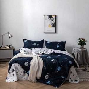 Galaxy Design Printed Queen / Double Size Duvet Cover Bed Sheet Set of 6 Pieces