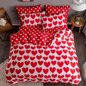 Red Heart Design Printed Single Size Duvet Cover Bed Sheet Set of 4 Pieces