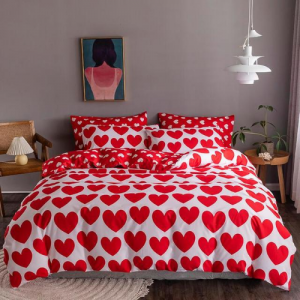 Red Heart Design Printed Queen / Double Size Duvet Cover Bed Sheet Set of 6 Pieces