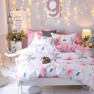 White Love Design Printed Single Size Duvet Cover Bed Sheet Set of 4 Pieces