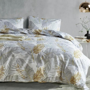 Leaves Printed Design Printed Queen / Double Size Duvet Cover Bed Sheet Set of 6 Pieces