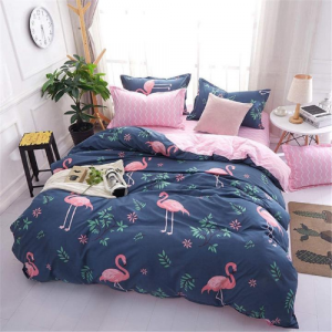 Flamingo Printed Design Printed Single Size Duvet Cover Bed Sheet Set of 4 Pieces