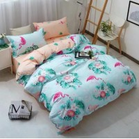 Green Flamingo Design Printed Queen / Double Size Duvet Cover Bed Sheet Set of 6 Pieces