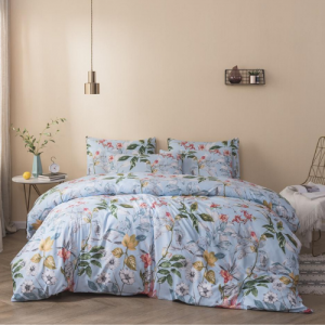 Floral Printed Design Printed King Size Duvet Cover Bed Sheet Set of 6 Pieces