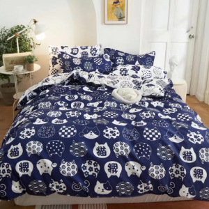 Cat Face Design Printed Queen / Double Size Duvet Cover Bed Sheet Set of 6 Pieces