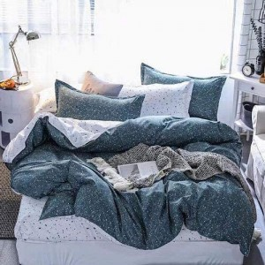 Dotted Design Printed Queen / Double Size Duvet Cover Bed Sheet Set of 6 Pieces