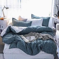 Dotted Design Printed King Size Duvet Cover Bed Sheet Set of 6 Pieces