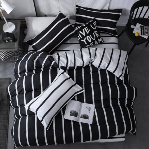 Stripes Design Printed Single Size Duvet Cover Bed Sheet Set of 4 Pieces