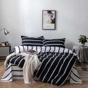 Stripes Design Printed King Size Duvet Cover Bed Sheet Set of 6 Pieces