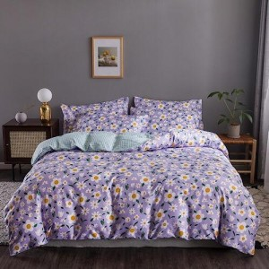 Daisies Design Printed Queen / Double Size Duvet Cover Bed Sheet Set of 6 Pieces