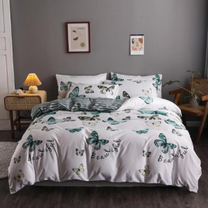 Green Butterfly Design Printed Queen / Double Size Duvet Cover Bed Sheet Set of 6 Pieces