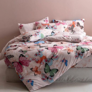 Butterfly Design Printed Single Size Duvet Cover Bed Sheet Set of 4 Pieces