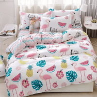 Watermelon Design Printed Single Size Duvet Cover Bed Sheet Set of 4 Pieces