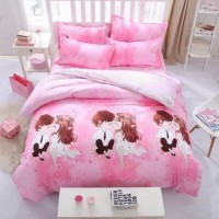 Lovers Design Printed Single Size Duvet Cover Bed Sheet Set of 4 Pieces