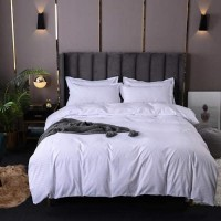 Plain White King Size Duvet Cover Bed Sheet Set of 6 Pieces