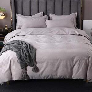 Plain Grey King Size Duvet Cover Bed Sheet Set of 6 Pieces