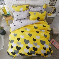 Yellow Heart Design Printed Queen / Double Size Duvet Cover Bed Sheet Set of 6 Pieces