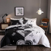 Heart Design Printed Queen / Double Size Duvet Cover Bed Sheet Set of 6 Pieces