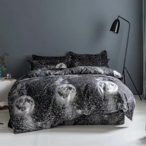 Black Moon Design Printed King Size Duvet Cover Bed Sheet Set of 6 Pieces
