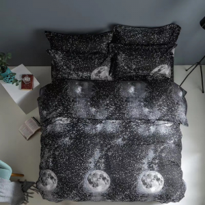 Black Moon Design Printed Single Size Duvet Cover Bed Sheet Set of 4 Pieces