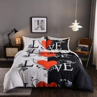 Love Design Printed Queen / Double Size Duvet Cover Bed Sheet Set of 6 Pieces