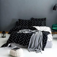 Back Geometric Design Queen / Double Size Duvet Cover Bed Sheet Set of 6 Pieces