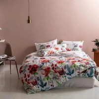 Floral Design Queen / Double Size Bed Sheet With Duvet Cover Set of 6 Pieces