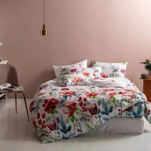 Floral Design King Size Duvet Cover Bed Sheet Set of 6 Pieces