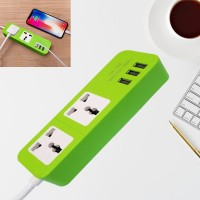 Good Quality Extension Power Socket With 3 USB Ports - Green